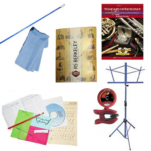(Flute Players Mega Pack - Essential Accessory Pack for the Flute: Includes: Flute Care & Cleaning Kit, Flute Cleaning Rod with Cloth, Music Stand, Band Folder, Standard of Excellence Book)