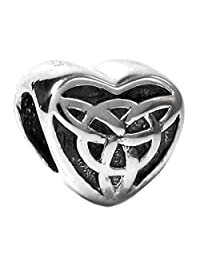 Queenberry 925 Sterling Silver Celtic Love Knot Triquetra Heart For European Chamilia Biagi Troll Pandora Charm Bracelets