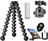 Joby GorillaPod Focus Flexible Tripod For Cameras w/ Ivation Mounting Kit for Most Smartphones and Tablets w/ Bluetooth Selfie Remote for IOS and Android Phones w/ Reusable Liquid Free Screen Cleaner