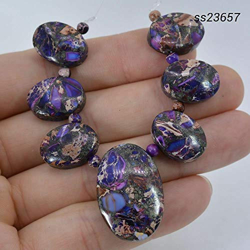 FidgetKute Purple sea Sediment Jasper Grass Turquoise Pyrite Oval Pendant Beads Set ss23657