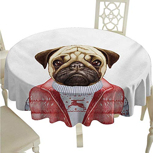 Pug Fabric Dust-Proof Table Cover Red Vest and Christmas Sweater on a Adorable Dog Hand Drawn Animal Fun Image Runners,Gatsby Wedding,Glam Wedding Decor,Vintage Weddings D60 Pale Brown Red White