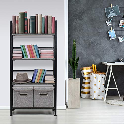 Sorbus Bookshelf Rack 4 Tiers Open Vintage Bookcase Storage Organizer, Modern Wood Look Accent Metal Frame, Shelf Rack Furniture Home Office, No Assembly Required by Sorbus (Image #1)