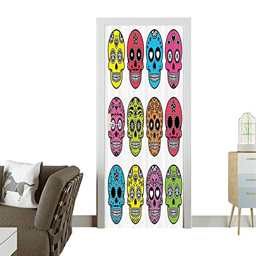 3D Door Decals Ornate Traditial Mexian Halloween Skull Dead Humor Folk Self Adhesive Door DecalW38.5 x H77 INCH -