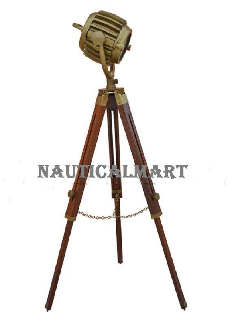 Designer Antique Finish Premium Quality Wooden Tripod Floor Lamp Lighting Spotlight Home Decor By Nauticalmart by NAUTICALMART