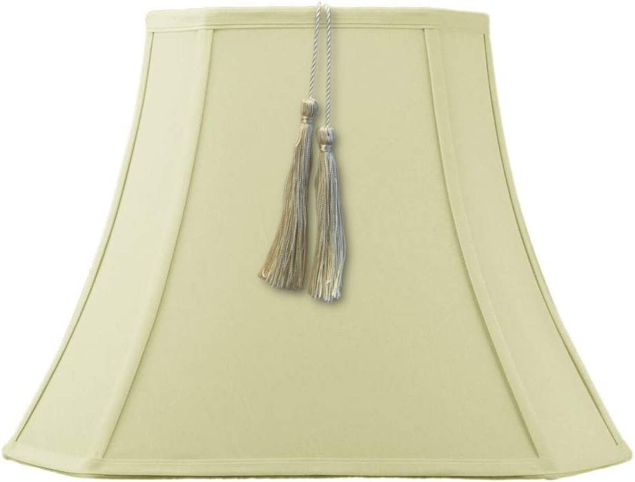 9x16x12 Square Cut Corner Tassel Lamp Shade Eggshell Shantung Fabric