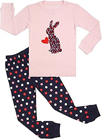 Girls Rabbit Pajamas Set for Toddler 100% Cotton Bunny Sleepwear Kids Pjs Pink 2T