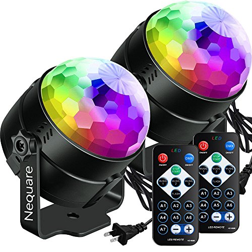 Nequare Party Lights Disco Ball Sound Activated Strobe Light 7 Lighting Color Disco Lights with Remote Control for Bar Club Party DJ Karaoke Wedding Show and Outdoor(3W) (2 PACK)