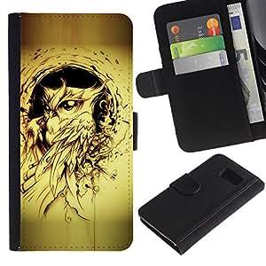 Billetera de Cuero Caso Titular de la tarjeta Carcasa Funda para Samsung Galaxy S6 SM-G920 / owl bird yellow tattoo black ink painting / STRONG