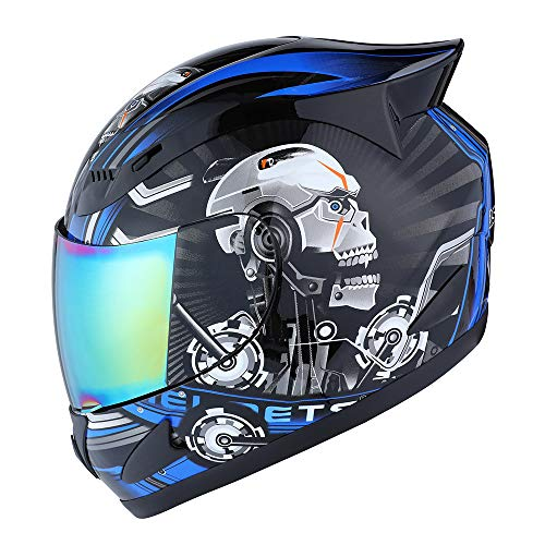 1STORM MOTORCYCLE BIKE FULL FACE HELMET MECHANIC SKULL - Tinted Visor BLUE; Size XL (59-60 CM 23.2/23.4 Inch) (Best Full Face Helmet For The Money)