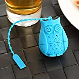HK Goods - Loose Leaf Owl Tea infuser - Best Silicone strainer – Funny Tea Filters – Cute Tea Infuser Design – Set In Bright Colors (Set of 6) - No Tea Leafs In Your Cup – Don't Sleep – Drink Tea