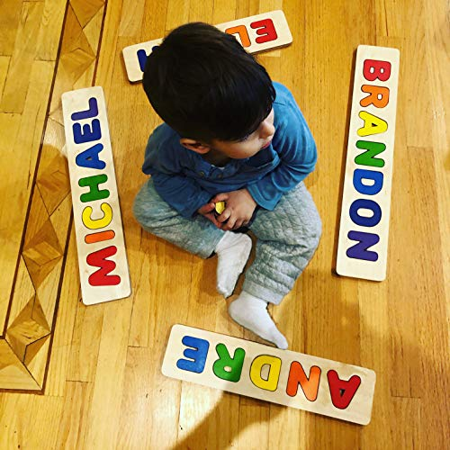 Wooden Personalized Name Puzzle - Choose up to 12 Letters. Learning Educational Toys