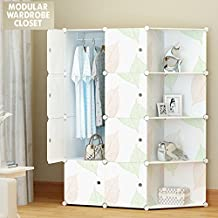 Portable Clothes Closet Wardrobe/Storage Organizer with doors, Large space and Sturdy Construction. White-8 cube w/ Corner (White.)