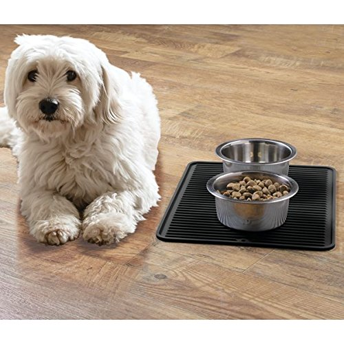 mDesign Premium Quality Pet Food and Water Bowl Feeding Mat for Cats or Dogs - Waterproof Non-Slip Durable Silicone Placemat - Food Safe, Non-Toxic - Large, Black by mDesign (Image #1)