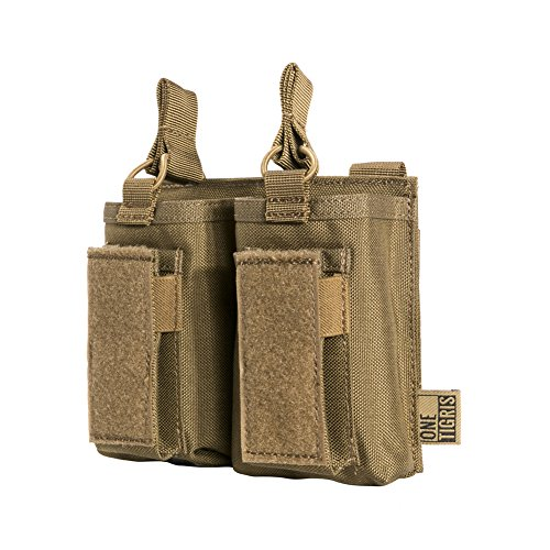 (OneTigris Elastic Kangaroo Rifle and Pistol Mag Pouch for AR AK G36 9mm .40 S&W .45 ACP Magazines (Coyote Brown,)