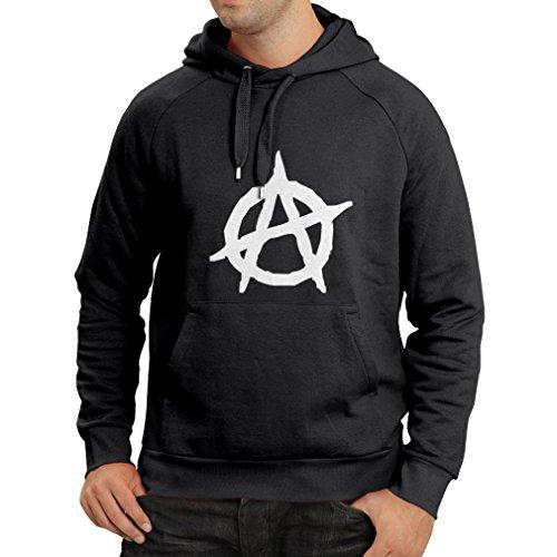 lepni.me Unisex Hoodie Anarchist Symbol Anarchism Political Design Anarchy Monogram (Medium Black White) (Cat-ausschnitt)