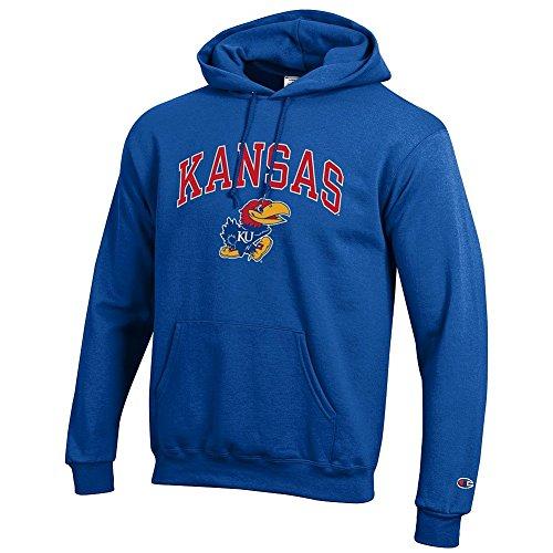 Elite Fan Shop Kansas Jayhawks Hooded Sweatshirt Varsity Blue - XXL