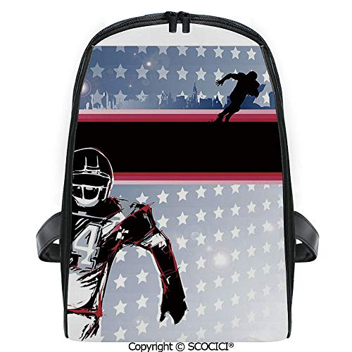 (SCOCICI Primary School Student Book Bag Baseball American Football Player Running in the Field with Stars Pattern for Girls/Boys Back To School Gift)