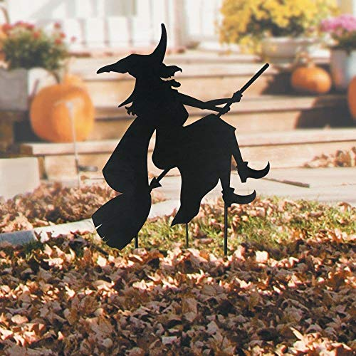 HALLOWEEN WITCH ON BROOM SILHOUETTE METAL YARD -