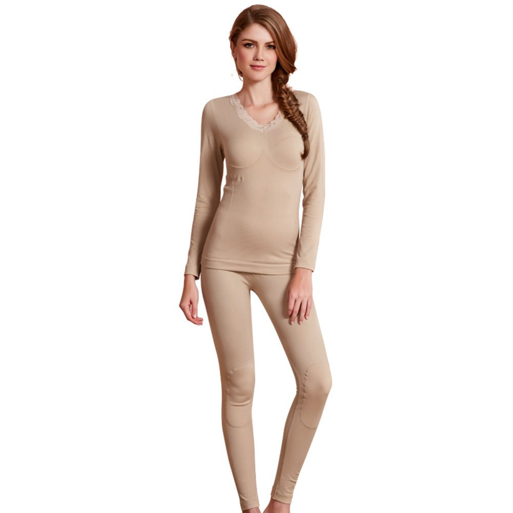 Bottoms Add wool thermal underwear/Ms home warm in autumn and winter/fall clothing long Johns suit/Thermal suit-C One Size