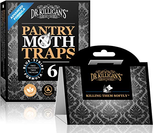 Dr. Killigan's Premium Pantry Moth Traps with Pheromone Attractant | Safe, Non-Toxic with No Insecticides | Sticky Glue Trap for Food and Cupboard Moths | Organic (6, Black) (Best Way To Catch And Kill Fruit Flies)