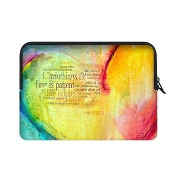 Alta calidad barato – colorido cristiana Biblia amor es paciente bolsas para portátiles 15,6