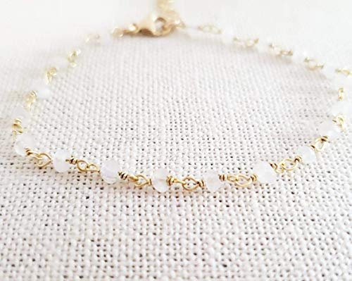 White Moonstone Bracelet - Gemstone Jewelry - Wire Wrapped Rosary Chain - 14k Gold Filled - Gift for Her