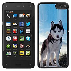 // PHONE CASE GIFT // Duro Estuche protector PC Cáscara Plástico Carcasa Funda Hard Protective Case for Amazon Fire Phone / Alaskan Malamute Husky Blue Winter North /