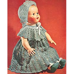 Vintage Crochet PATTERN to make - Baby Doll Dress Hat Shoes 16-22 inch. NOT a finished item. This is a pattern and/or instructions to make the item only.