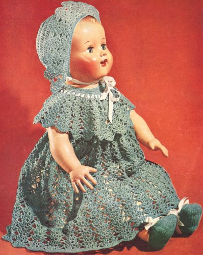 Vintage Crochet PATTERN to make - Baby Doll Dress Hat Shoes 16-22 inch. NOT a finished item. This is a pattern and/or instructions to make the item - Crochet Doll Hats