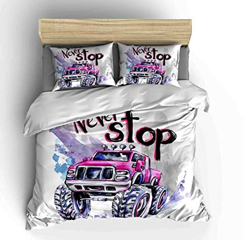 (Cars Bedding Sets Twin Size,3 Piece Duvet Cover Sets Cartoon Never Stop Hand Drawn Watercolor Off Road Monster Trucks Enormous Wheels with 2 Pillowcases for Teens Boys Girls Bedroom,No Comforter)