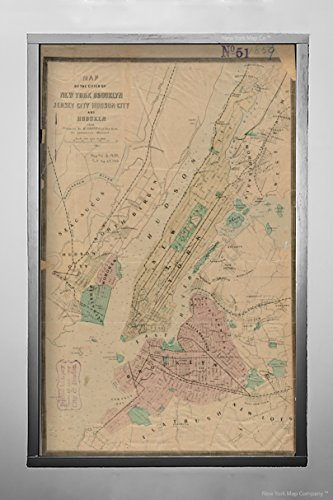 1859 Map New York New York of The Cities of New York, Brooklyn, Jersey City, Hudson City and Hobo Vintage Fine Art Reproduction Ready to Frame