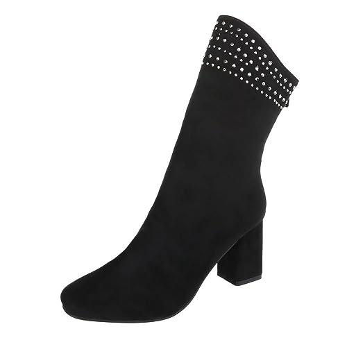 Zapatos para Mujer Botas Mini tacón Botines de tacón Ital-Design: Amazon.es: Zapatos y complementos