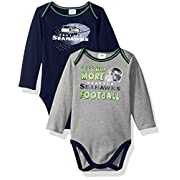 NFL Seattle Seahawks Boys Long Sleeve Bodysuit (2 Pack), 0-3 Months, Navy