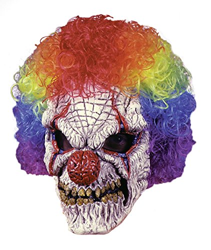 Sinister Evil Clown Scary Horror Latex Adult Halloween Costume Mask (Hockey Mask Halloween Costume)