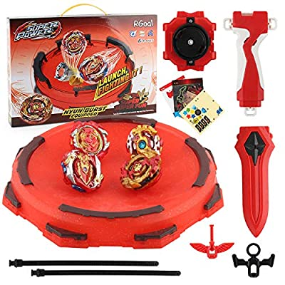 RGoal Bey Burst Starter Battling Top Fusion Metal Master Rapidity Fight with Two 4D Launcher Grip Set(4 in 1): Toys & Games