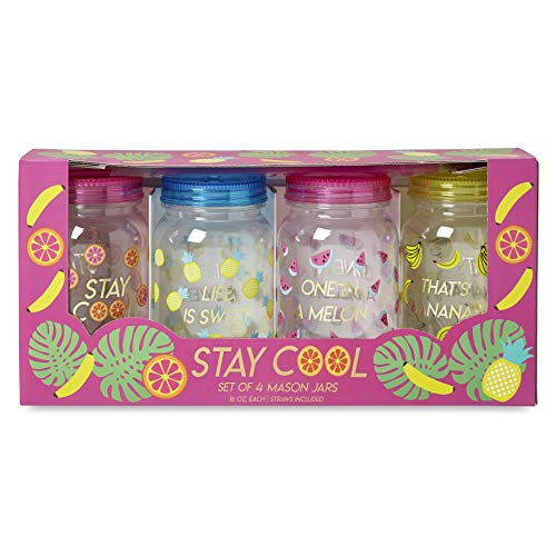 Charming Charlie Mason Jar Plastic Cups Set - Large Break Resistant, BPA Free Mugs w/Lid and Straw - 16 Ounces, Pack of 4