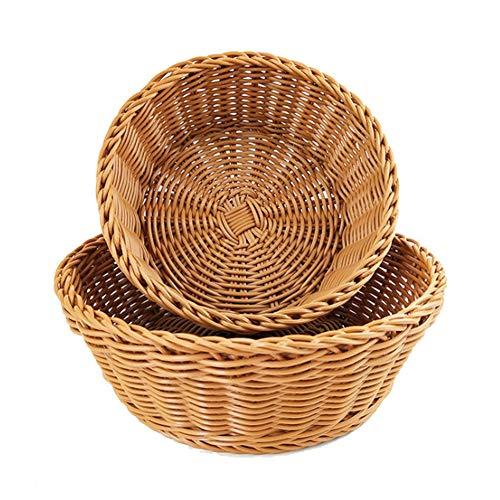 (Woven Tabletop Food Fruit Vegetables Serving Basket,PP Rattan Round Wicker Storage Basket,Kitchen Storage Basket(1pc,S))
