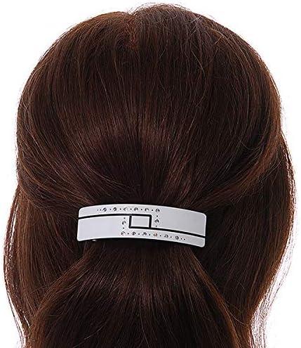 Avalaya Barrette /à cheveux avec cristal acrylique Blanc//noir en m/étal argent/é Longueur 80 mm