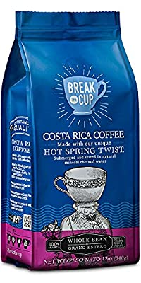 Gourmet Coffee Costa Rica Whole Bean by Break the Cup: Coffee Beans Naturally Enriched To Produce the Aroma Coffee Lovers Crave From this Pure Arabic Coffee (12 oz whole bean coffee)