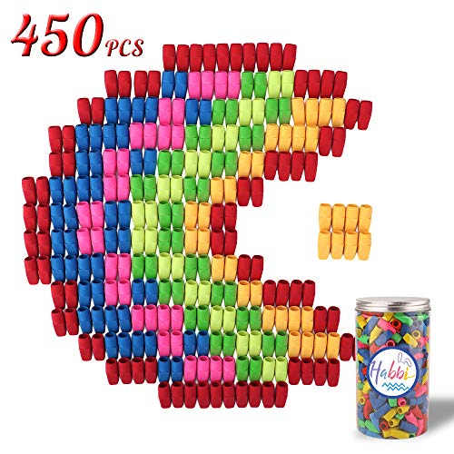 Habbi 450 Pcs Eraser Caps, Pencil Top Erasers, Pencil Cap Erasers, Eraser Tops, color Pencil Eraser Toppers, School Erasers for Kids, Use in Home, School, Office ()