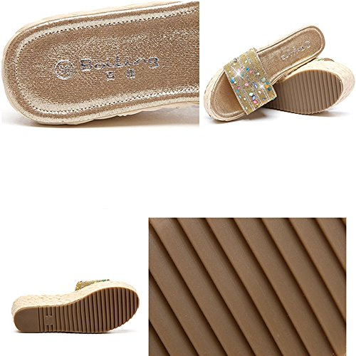 con imitaci de deporte de plataforma para diamantes Zapatillas mujer de de XW verano Sandalias verano Zapatillas de OHxqnCPav