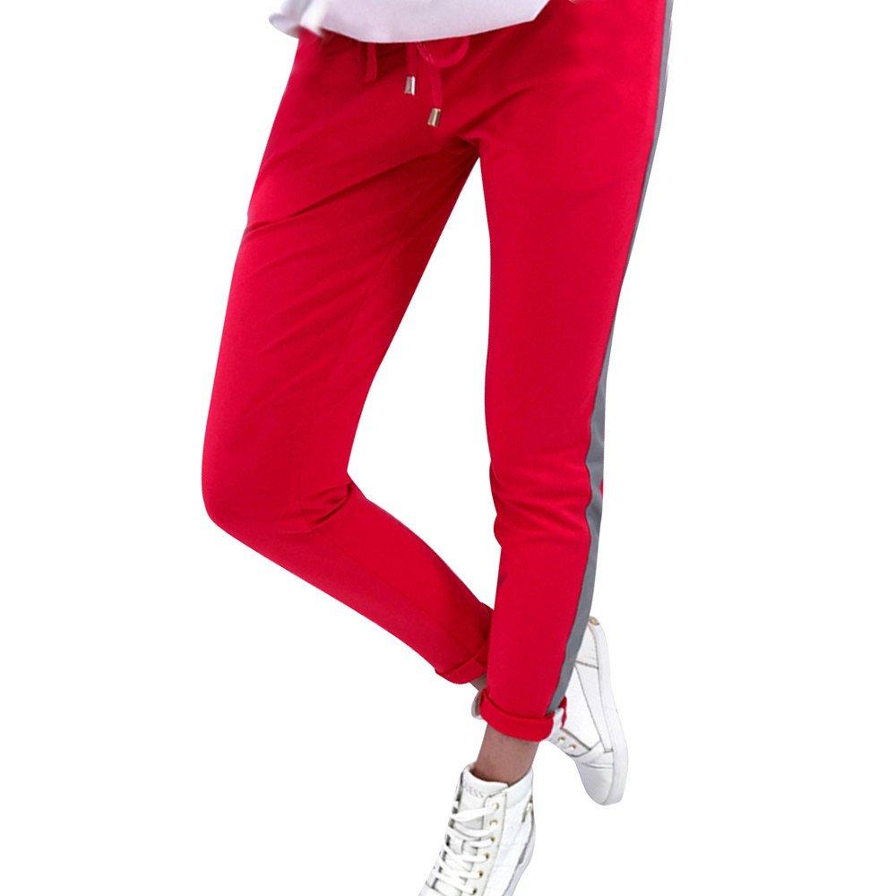 Clearance Sale! Women Pants,Farjing Women Striped Elastic Waist Casual Sportswear Thin Long Pencil Pants Trousers(L,Red)