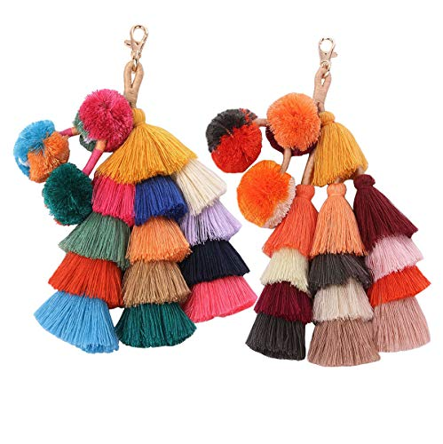2 Pieces Colorful Bohemian Tassels Keychain Car Keyring Charm Handbag Bag Purse Pendant (25)