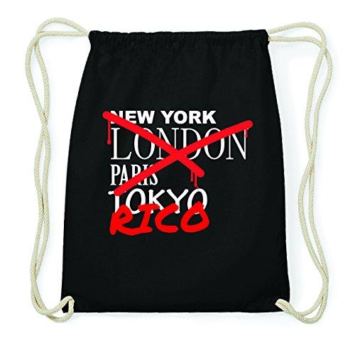 JOllify RICO Hipster Turnbeutel Tasche Rucksack aus Baumwolle - Farbe: schwarz Design: Grafitti