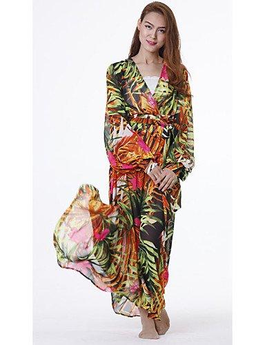 PU&PU Robe Aux femmes Swing Plage , Imprimé Col en V Maxi Coton , green-xl , green-xl
