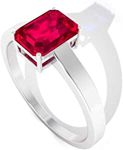 1.15 Ct Octagon Shape Ruby Glass Filled Ring, Unique Women Statement Promise Ring, Certified Solitaire Gemstone Gold Ring, Classic Wedding Bridal Ring, 14K Gold