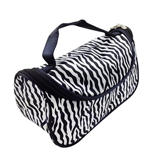 EYX Formula Fashion Women Zebra stripes Nylon Travel Makeup Bag Cosmetic Bag,Portable Storage Bag Handbag Toiletry Bag for Organizing. -