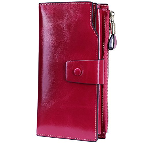 Itslife RFID Blocking Women's Large Capacity Luxury Wax Genuine Leather Cluth Wallet Card Holder Ladies Purse (Rose RFID Blocking)