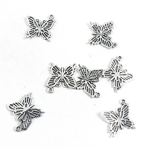 20 Pieces Antique Silver Tone Jewelry Making Charms Pendant Findings Craft Supplies Bulk Lots Arts I5JW6 Butterfly (Silver Tone Butterfly Charms)