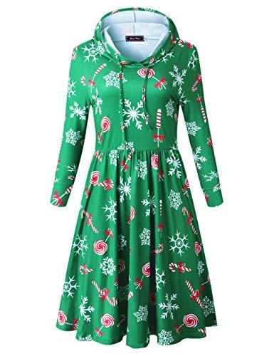 Skater Dress Ugly Christmas Long Sleeve Dresses for Women Casual (S, Green) ()